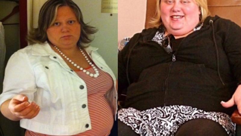 colaj de 2 poze cu julie garte, când avea 155 de kilograme