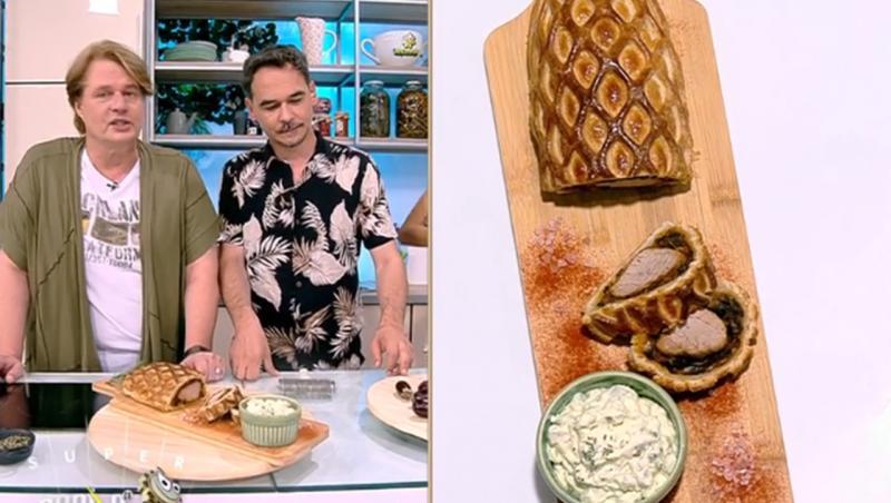 Mușchiuleț de porc în stil Wellington cu sos de maioneză și cremă de brânză