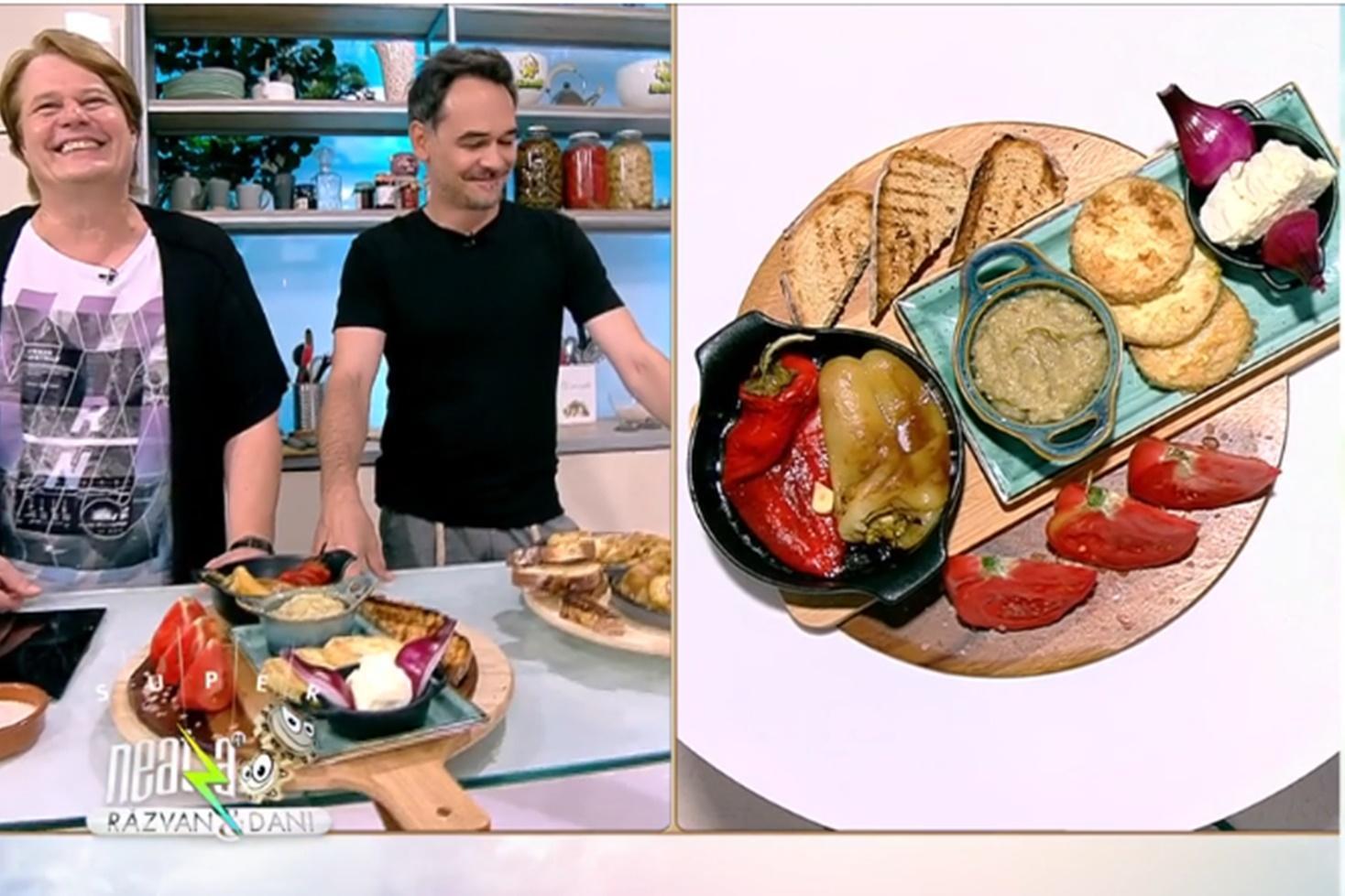 Salată de vinete cu dovlecei pane și salată de ardei copți, o gustare de vară ca la țară, preparată de Vlăduț la Super Neatza