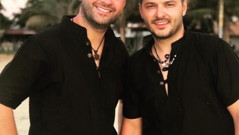 Liviu Vârciu, lângă Andrei Ștefăfănescu, îmbrăcați în negru