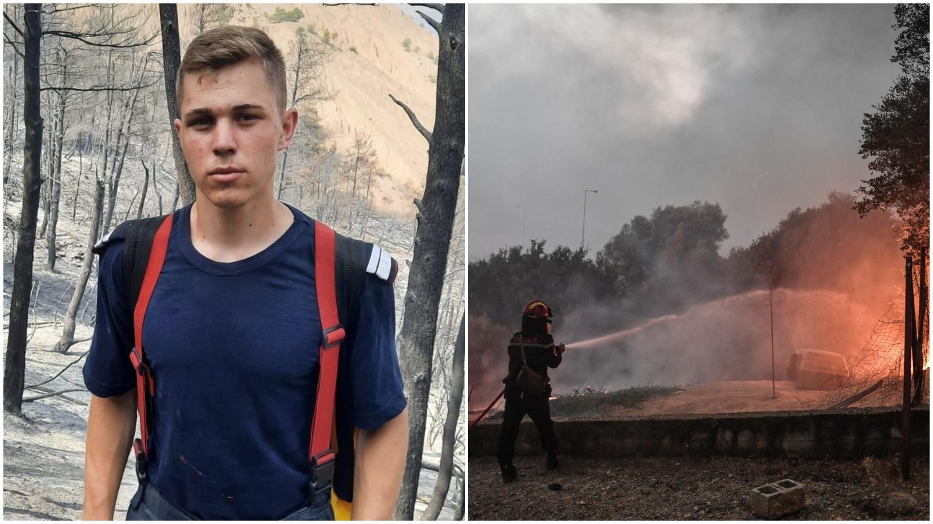 Cine este cel mai tânăr pompier român care luptă cu flăcările  din Grecia. Povestea emoționantă a lui Andor