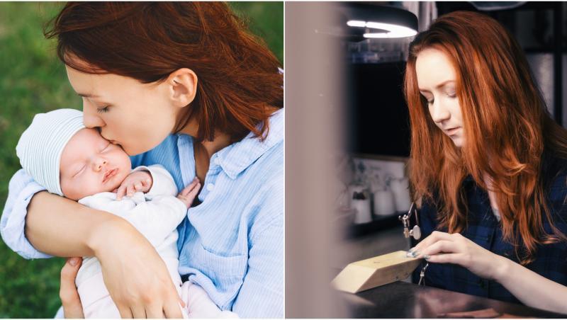 colaj femeia care face bijuterii din lapte matern. în prima poză, femeie în albastru care ține bebeluș în brațe, în a doua, femeie cu ărul roșu care face bijuterii