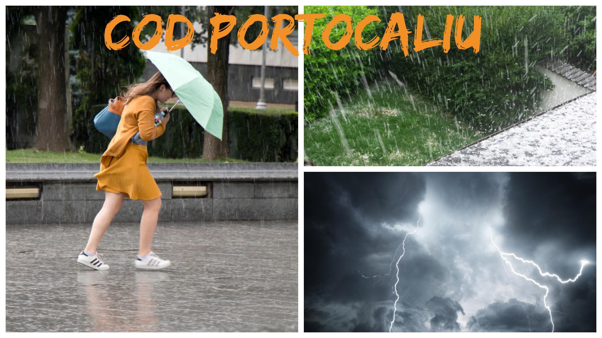 Alertă meteo! Cod portocaliu de ploi torențiale, grindină și vijelii. Care vor fi cele mai afectate zone