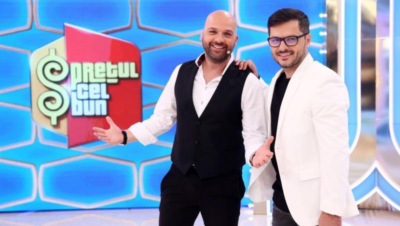 """Andrei Ștefănescu și Liviu Vârciu, prezentând """"Prețul cel bun"""""""