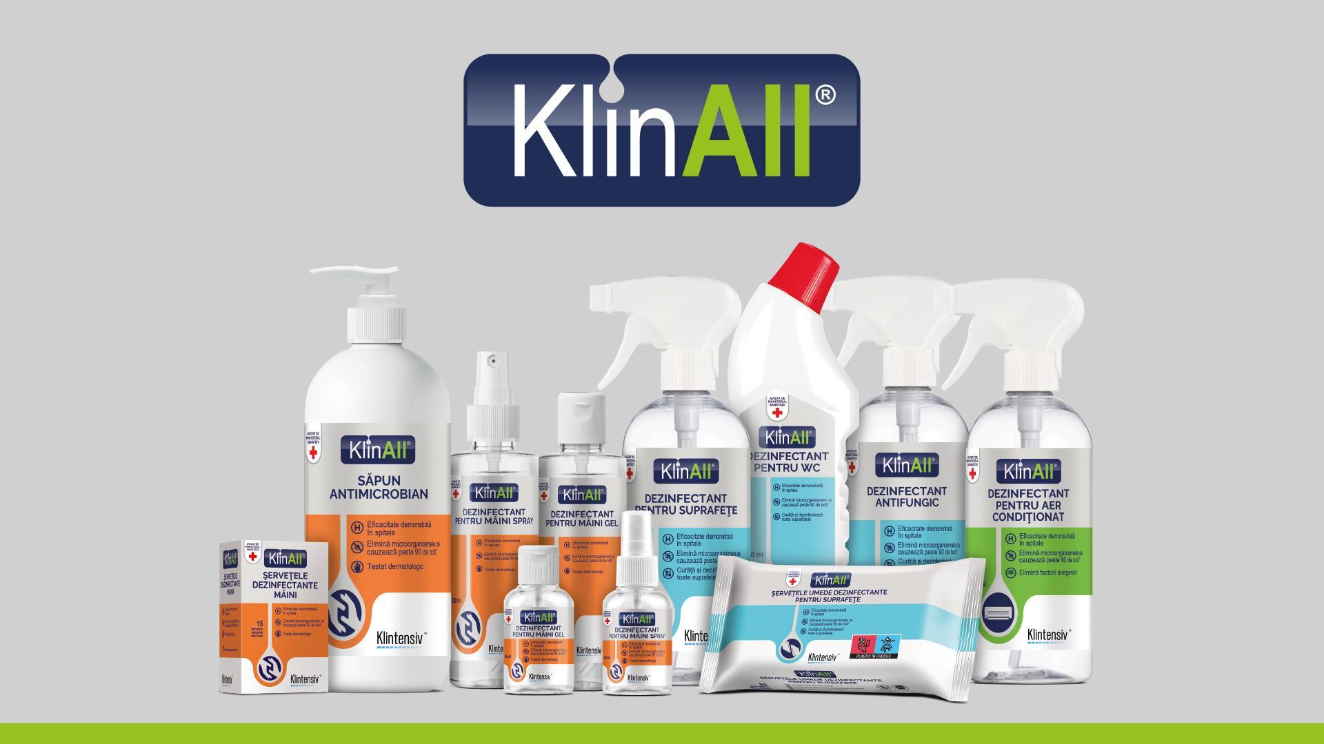 (P) Klintensiv lansează KlinAll, un brand nou de dezinfectanți pentru consumatorul casnic