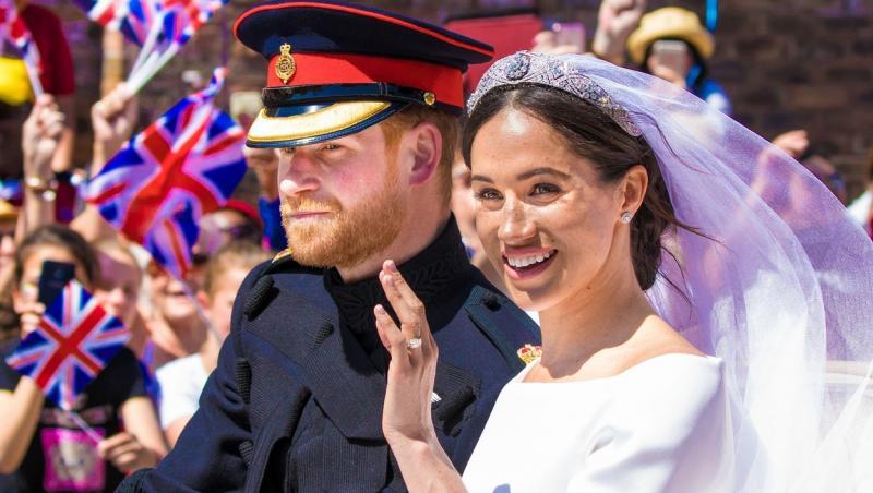 Meghan Markle, împreună cu Prințul Harry, în ziua nunții lor