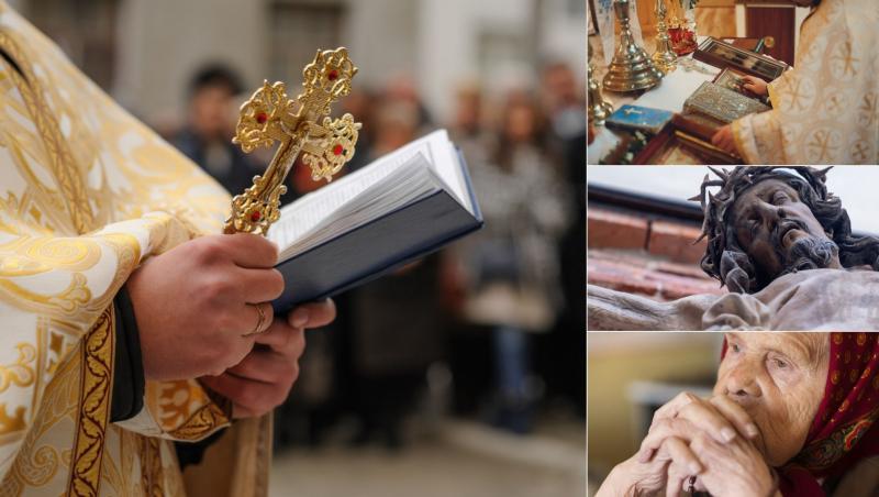 colaj de imagini cu iisus hristos, sfanta cruce, o batrana care se roaga si un preot in biserica