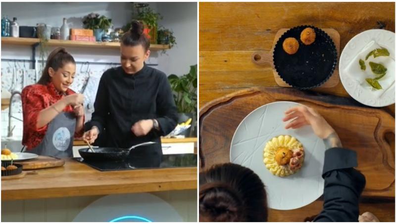 """Roxana Blenche a pregătit """"bomboane"""" de pui servite cu piure și sos de ardei copt"""