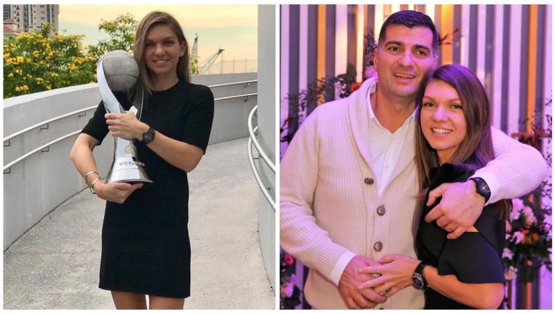 Simona Halep în două ipostaze diferite, alături de toni Iuruc