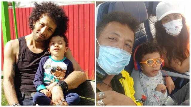 Kamara în două ipostaze diferite, alături de fiul său și fosta soție