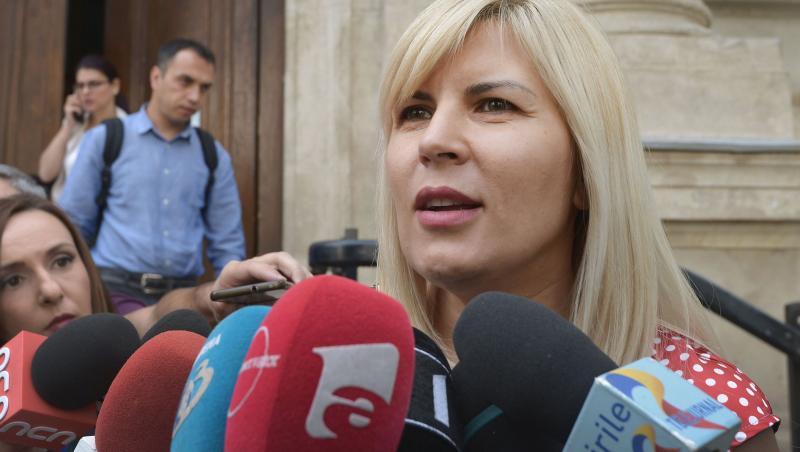Elena Udrea, la o conferință de presă cu microfoane în față