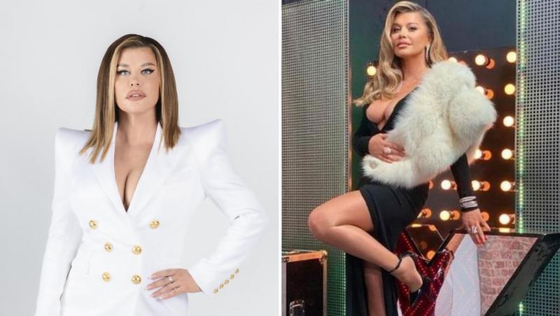 Loredana, colaj din două poze, din ședințele foto pentru X Factor