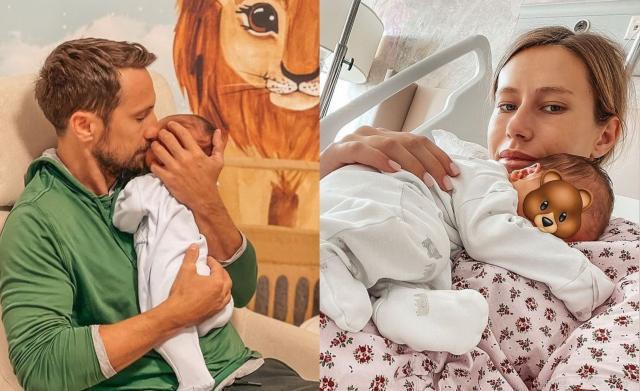 Colaj de fotografii cu Gabriela Prisăcariu și Dani Oțil în timp ce țin în brațe copilul. Băiatul se numește Luca Tiago