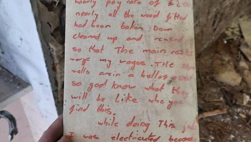 Mesajul vechi, gasit in zidurile magazinului