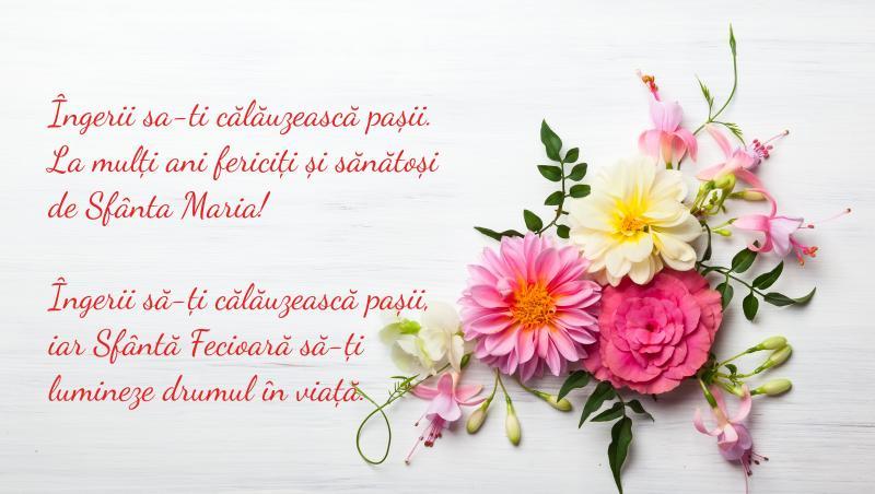 flori pe o felicitare cu mesaj pentru sfanta maria mica de 8 septembrie 2021