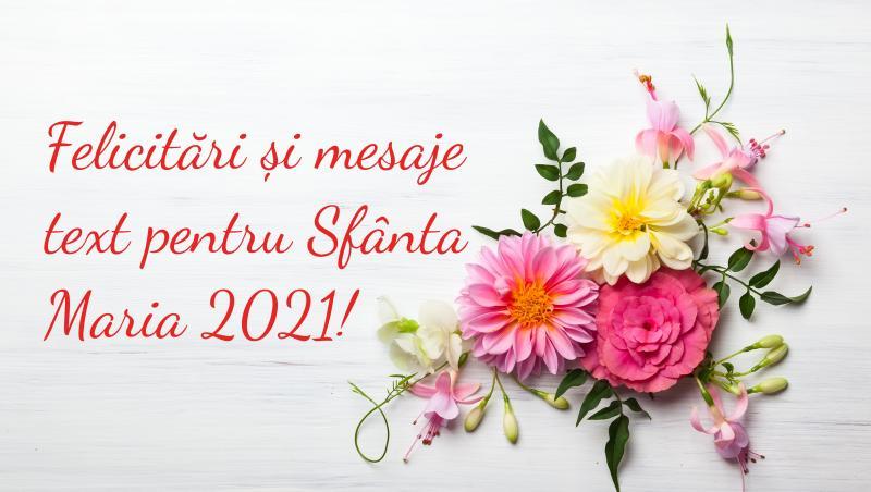 """felicitare cu fundal alb si flori in dreapte pe care scrie """"felicitari și mesaje pentru sfanta maria"""""""