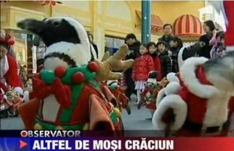 VIDEO! Pinguini in rol de Mos Craciun