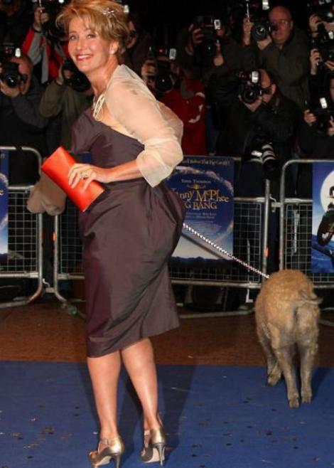Emma Thompson, cu porcul la eveniment