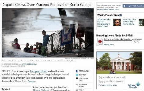 "New York Times: Romii romani pun in pericol principiul ""granitelor deschise"" in UE"