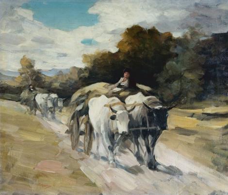 """Tabloul """"Car cu boi"""" a lui Nicolae Grigorescu, scos la licitatie pentru o suma record"""