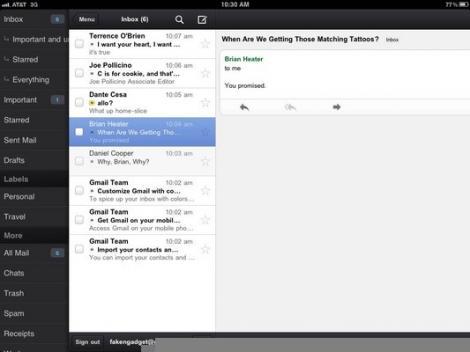 Aplicatia Gmail pentru iPad si iPhone
