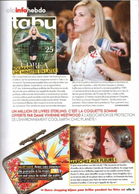Pictorialul Elenei Udrea in latex a ajuns si intr-o celebra revista franceza