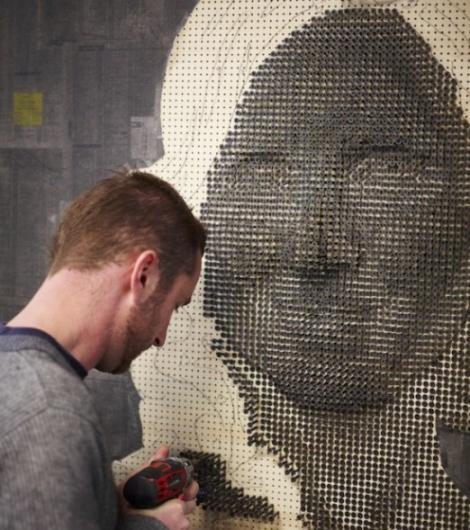 Tablouri inedite: portrete 3D facute din suruburi