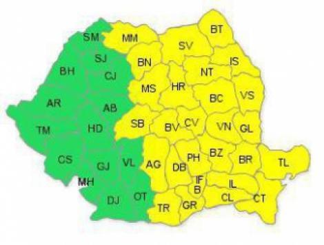 Cod galben de ploi si vijelii, pentru Capitala si Est-ul tarii