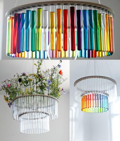 Ingenios: Candelabrul realizat din eprubete colorate