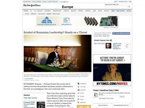 New York Times: Lupta politica din Romania lasa acest stat balcanic sarac sa pluteasca in deriva