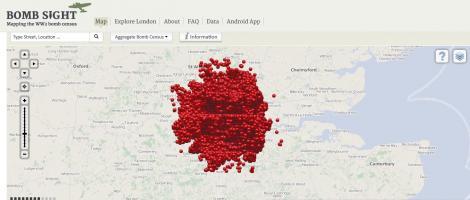 Harta bombardamentelor din Londra din 1940