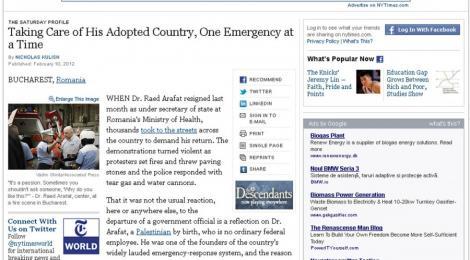 New York Times: Raed Arafat are grija de tara sa adoptiva