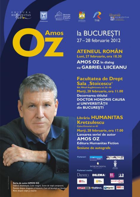 Scriitorul Amos Oz vine pentru doua zile la Bucuresti