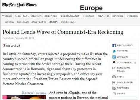"New York Times:""Nepopularul si autoritarul Traian Basescu seamana cu Ceausescu"""