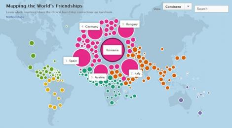 Facebook prezinta prieteniile dintre tari