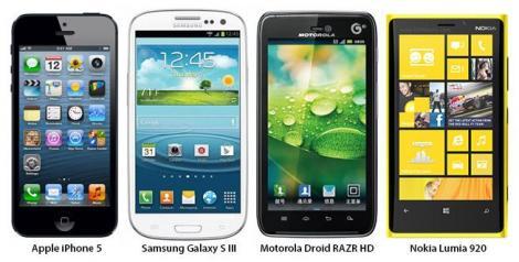 Comparatie intre iPhone 5, Samsung Galaxy S III, Motorola Droid RAZR HD si Nokia Lumia 920