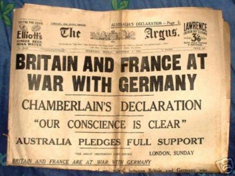 3 septembrie 1939: Marea Britanie si Franta declara razboi Germaniei, in Al Doilea Razboi Mondial