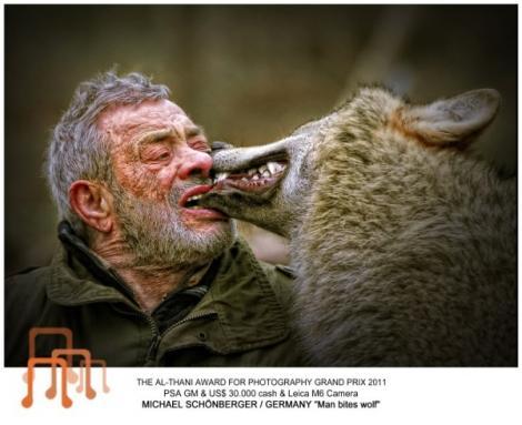 Sfideaza legile naturii: traieste intre lupi si ii hraneste din gura lui