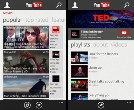 Microsoft si-a pus la punct aplicatia YouTube de Windows Phone 8
