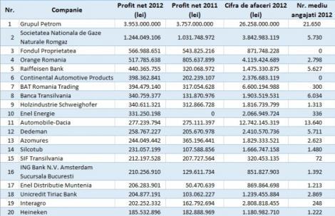 Top: cele mai profitabile 80 de companii din Romania