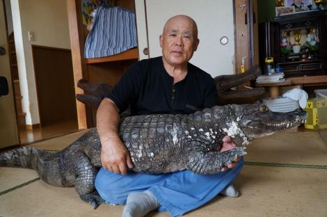 """GALERIE FOTO. De 34 de ani doarme cu un crocodil în pat. Îl scoate la plimbare, îl spală pe dinți. """"Soția nu-l suportă, de aceea stau mai mult cu el!"""""""