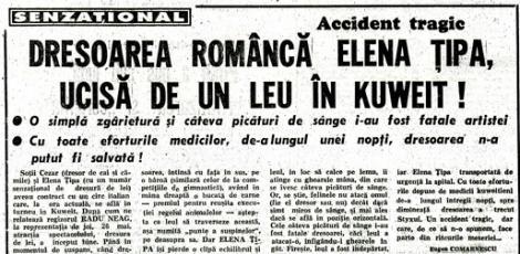 """Tragedie la circ. Elena Țipa a fost ucisă de propriul """"copil"""", leul Albert. """"Din gâtul ei sângele țâșnea ca dintr-o fântână arteziană!"""" Două gravide avortează, un bătrân moare de inimă!"""