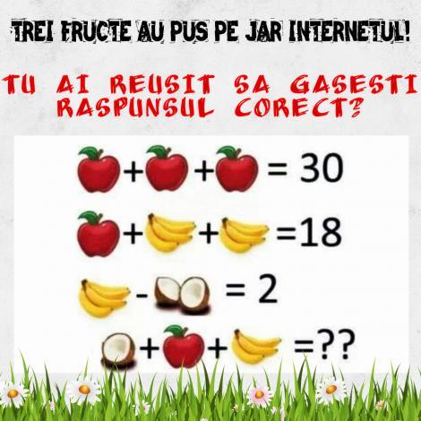 TEST! Trei fructe au pus pe jar internetul! Tu ai reușit să găsești răspunsul corect la problemă?