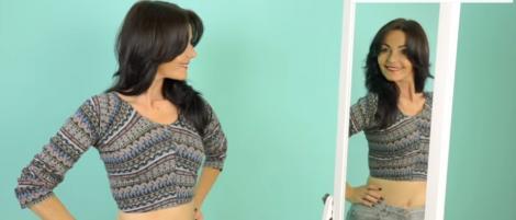 Cum să-ți faci o bluză sexy dintr-o pereche de colanți vechi. INDICIU: ai nevoie numai de o foarfecă