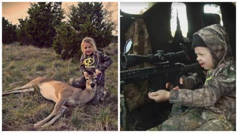 """Alți copilași de vârsta ei plâng la """"Moartea căprioarei"""", însă această fetiță se bucură și e lăudată când împușcă una! Are vânatul în sânge!"""