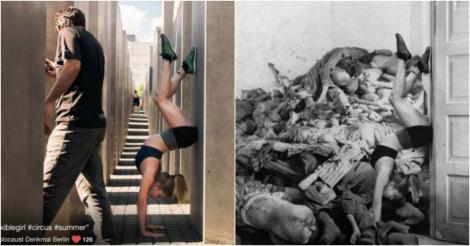 Cum am ajuns aici? Selfi-uri de la Muzeul Holocaustului, în varianta reală. Oamenii se fotografiază pe mormane de cadavre. Ideea este înfiorătoare
