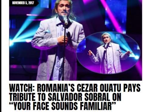 """Transformarea uluitoare a lui Cezar Ouatu de la """"Te cunosc de undeva"""" lăudată pe cel mai cunoscut site dedicat Eurovision"""