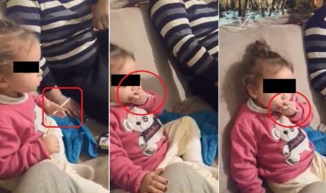"""VIDEO incredibil! O fetiță din Tulcea, înecată în fum de țigară. Ce se ascunde, de fapt, în spatele imaginilor, este șocant: """"Hai trage, trage. Vrei și cafea?"""""""