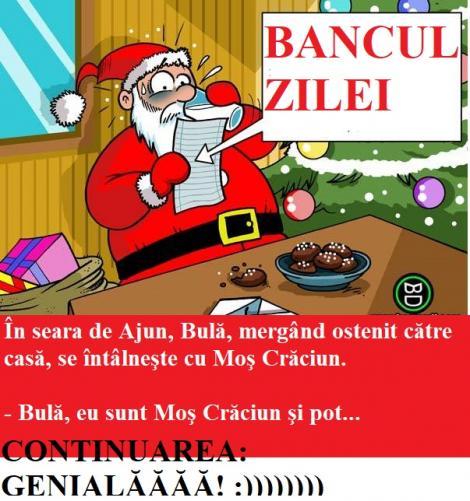 BANCUL ZILEI: În seara de Ajun, Bulă, mergând ostenit către casă, se întâlneşte cu Moş Crăciun