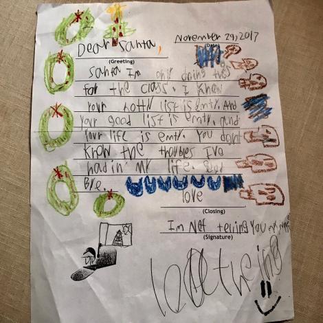 """Scrisoarea unui băiețel către Moș Crăciun a ajuns virală: """"Știu că lista ta cu copii cuminți este goală. Și viața ta este pustie. Nu știi problemele pe care le-am avut în viață. La revedere"""""""